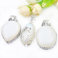 Wholesale Mexican Fire Opal Necklace - Mix 3Pieces 1 Lot Classic Holiday Jewelry Fire Moonstone 925 Sterling Silver Plated Pendants Necklaces for Holiday Party Gift