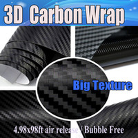 Wholesale Cars Big Sticker - Black 3D Big Texture Carbon Fibre vinyl Film Air Bubble Free Car styling Free shipping thickness 0.18mm Carbon laptop 1.52x30m Roll
