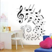 Wholesale Music Vinyl Wall Art - Fashion Art Wall Sticker Elegant Cartoon Music Note Removable DIY Art Vinyl Decal for Home Decoration