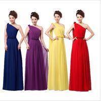 sarı artı boyutu nedime elbiseleri toptan satış-Yeni Düğün Gelinlik Partisi Örgün Uzun Kokteyl Bir Omuz Şifon Elbise Kırmızı Mor Sarı Artı Boyutu 50 Altında