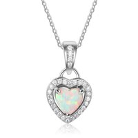 Wholesale 100 Sterling Silver Heart Shape Simulated Opal Necklace Wedding Necklace Charm Jewelry Necklaces For Women