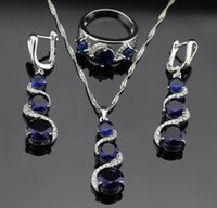 Wholesale Blue Sapphire Ring 925 Silver - 2016 Hot new Blue Sapphire Jewelry Sets For Women 925 Sterling Silver Necklace Pendant Earrings Rings Size 6 7 8 9 Free Jewelry Box