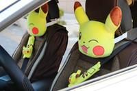 Wholesale Cartoon Headrest - New Arrivals Poke Cute cartoon car pillow cushion Pikachu plush toys headrest backrest car seat belt shoulder sleeve