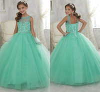 Wholesale Cute Pink Crystals - 2016 Cute Mint Green Little Girls Pageant Dresses Tulle Sheer Crew Neck Beaded Crystals Corset Back Flower Girls Birthday Princess Dresses