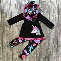 Wholesale Wholesale Tutu Legging Sets - 2018 fall baby girl clothes kids boutique clothing sets girls tassel dresses long sleeve top unicorn pants rainbow legging childrens outfits