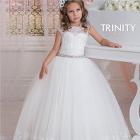 Wholesale Ankle Length Organza Communion Dress - 2016 Cap Sleeves Crystals Lace Tulle Flower Girl Dresses Vintage Child Pageant Dresses Beautiful Flower Girl Wedding Dresses
