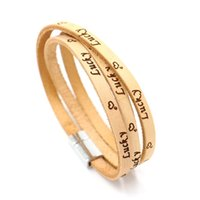 Wholesale Hand Lettering - Embossing lettering Lucky multilayer leather bracelets Lucky magnet buckle bracelet Students male and female couple hand jewelry