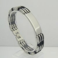 Wholesale Heavy Cuffs - 2016 New Arrival Fashion Stainless Steel ID Bracelet Thick Heavy Style 14mm Steel Black Silicone Bracelet Chain Cuff Link For Man