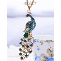Wholesale Blue Peacock Sweater - Luxury Jewelry Peacock Pendant Vintage Sweater Chain Necklaces Vintage Blue Peacock Necklace With Crystal Diamond free shipping