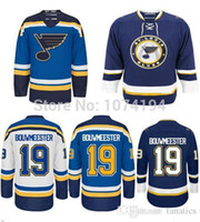 Wholesale Cheap Blue Jays Jerseys - Men's St.Louis Blues Jersey #19 Jay BOUWMEESTER Jersey Home Blue Road White Navy Hockey Jersey Cheap 100% Stitched BOUWMEESTER Jersey
