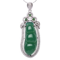 Wholesale S925 Jade Pendant - Natural ice Yang green Female money chalcedony jade pendant necklace pendant bean S925 silver inlaid