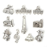 Wholesale Charm Radio - Free shipping 2016 New 117pcs Zinc Alloy Car Radio Pendants Charm Mixed Antique Silver Plated Charms Metal Jewelry Findings for DIY Making