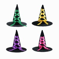 Wholesale Costumes Top Hats - 44*32*42Cm Halloween Party Supplies Party Props Witches Hats Wizard Hat Poly Flocking Witche Halloween Costumes Top Hats