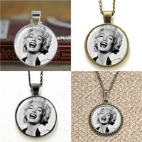 Wholesale Monroe Necklace - 10pcs Marilyn Monroe Vintage Glass Art Pendant Necklace keyring bookmark cufflink earring bracelet
