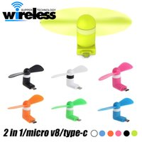 Wholesale Package Cooler - Mini USB Fan Flexible Portable Super Mute Cooler Cooling For 2 in 1 Type-c Android Samsung S7 edge Phone mini fan With Package