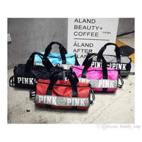 Wholesale Canvas Art Bag - Love vs Pink Cosmetic Bags Fashion Women Handbags Love VS Pink Large Capacity Travel Duffle Striped Waterproof Beach Bag Shoulder Neceser