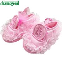 Wholesale Newborn Bottoms - Wholesale- Hot Chamsgend Toddler Kid Baby Girl Embroidered Lace Soft Bottom Newborn Walking Shoes Levert Dropship Jan11