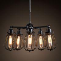 20 25sqm ce led black iron chandelier lustre abajur american country style industry loft pendant lamp e27 edison bulb bar cafe lighting - Edison Chandelier