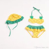 Wholesale Hot Cute Bikini Girl - Swimwear Kids Fashion Girls Cute Pineapple Shape and Lace-up Bikini Hot Children Lovely Polka Dots Swimsuit Attached to Hat