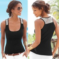 Wholesale Black Sequin Tank Top - 2017 Brand New Womens Summer Sexy Vest Lace U-neck Sleeveless Blouse 1 PC Free Shipping[CW21278]