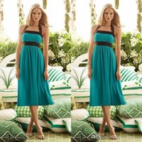 Wholesale Teal Chiffon Knee Length Dress - 2017Country Bridesmaid Dresses Dark Brown and Teal Bridesmaid Dresses Halter Tea Length Chiffon Beach Wedding Party Dresses Custom Made WE42