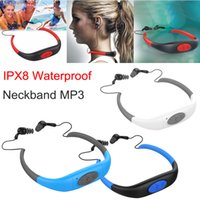 Wholesale Underwater Mp3 For Swimming - 8GB IPX8 Waterproof MP3 Music Player Underwater Swim Surfing Diving Neckband Sports Stereo Earphone Handsfree FM Radio for Android IOS Phone