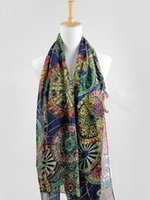 Atacado-Nova Womens Chiffon Print Seda Long Neck Scarf Shawl Scarves Stole Wraps