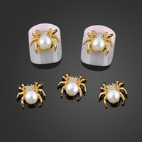 Wholesale Pearl Nail Stickers - Wholesale- New Glitter Gold Spider 3d Nail Charms Jewelry DIY Pearl Alloy Nail Art Decorations Nails Tools Stickers Free Shipping