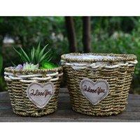 Wholesale Large Green Vases - High quality pastoral handmade straw flower pot basket zakka planter flower vase classic home decoration 2pcs lot RA9250