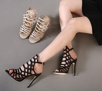 Wholesale Sexy High Strappy Sandals - Fashion New Hot Sexy Womens Strappy Lace Up Open Toe Gladiator Sandals Stilettos High Heel Shoes 11cm free shipping