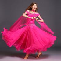 ingrosso costumi da ballo rosa-9 colori di alta qualità vestito da ballo del diamante Waltz Tango Foxtrot sala da ballo quickstep costume concorrenza vestito da sera gonna da ballo vestito MY008 #