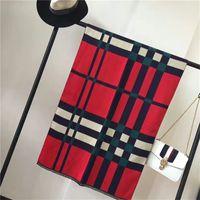 Wholesale Top Tartan Scarf - Top Qualtiy 180cm*60cm Imitation Cashmere Scarf for women Euro Brand French designer scarf grid Pattern Printed Women Gift shawl scarf A123