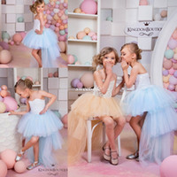 Wholesale Children Strapless Flower Gown - Cute High Low Flower Girl Dresses for Summer Boho Beach Wedding Champagne Tulle Vintage Lace Baby Child Party First Communion Dresses 2016