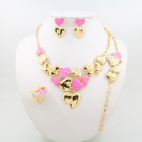 Wholesale Heart Shape Lighting Necklaces - 2016 new heart-shaped jewelry set including necklaces bracelets rings earrings four exquisite alloy suit for pink sea blue red and pur