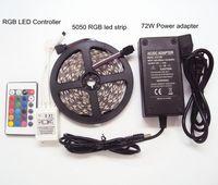 rgb uzaktan güç kaynağını kaldırıyor toptan satış-DC12V 5050SMD 5 M RGB LED Şerit Olmayan su geçirmez Tatil Noel + 110 v LED Güç Kaynağı 6A Işık Adaptörü + 24 Anahtar RGB IR Uzaktan Kumanda
