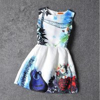 Wholesale Violin For Kids - 2016 girls dress violin printed pattern American style summer princess dresses for kids Big Size girls dresses