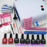 Wholesale color file - Manicure Tools 36W UV Lamp + 6 Color 10ml Soak off Gel Nail Base Gel Top Coat Polish with Remover Practice Set File Kit