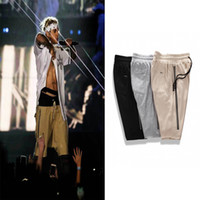 100% Cotton black pants outerwear - Designer brand mens RO basketball shorts Hip Hop Fear of god Justin Bieber Love Loose Hight Street Kanye West outerwear shorts for men