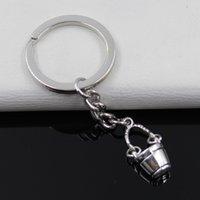 Wholesale Antique Silver Bucket - Fashion diameter 30mm Key Ring Metal Key Chain Keychain Jewelry Antique Silver Plated double sided bucket 20mm Pendant