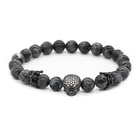Wholesale Gun Black Bracelet - Gun Black Crown Spacer Cubic Zirconia Spartan Skull Bracelets for Men 8mm Stone Beads, 7.5""