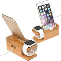 Wholesale Iphone 4s Charging Stand - Wholesale-Bamboo Original Stand Charging Dock Station Bracket Accessories IPhone 4 4s 5 5s 5c 6 6plus and Watch
