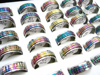 Wholesale Brand New Rainbow - wholesale bulk lots 50PCs rainbow color stainless steel Cutting Spinner fashion jewelry rings brand new lot