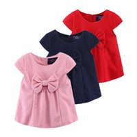 Wholesale Navy Blue Children Clothes - Grils dress Autumn winter Children clothes Big bow sweet girls woolen dress short sleeve Navy red pink Dress for girl European Paris style