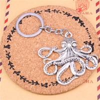 joyas de anillos de pulpo al por mayor-Llavero pulpo colgantes DIY hombres joyería llavero del coche llavero anillo de recuerdo para el regalo