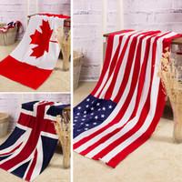 serviettes usa achat en gros de-100% coton serviette de plage séchage gant de toilette maillot de bain serviettes de douche USA ROYAUME-UNI drapeau du Canada dollar serviette de bain design livraison gratuite