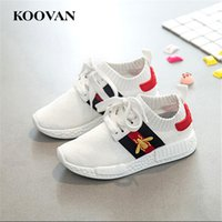 Wholesale Soft Leather Kids Shoes - Kids Sneaker Boy Girl Running Shoes 2017 Big Kids Shoes Breathable Stretch Fabric Casual Shoes Soft Bottom Free Ship K087