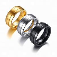 bagues pour femmes en or noir achat en gros de-Nouveaux anneaux noirs en acier de titane d'arrivée pour la bande de mariage or / noir / anneau en acier de doigt pour des femmes des hommes