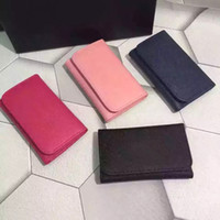 Wholesale Leather Womens Pouch Wallet - 2016 New Fashion Luxury Famous Brand Genuine Leather Men's Short key holder wallet Men keychain wallet womens card holder key ring key pouch