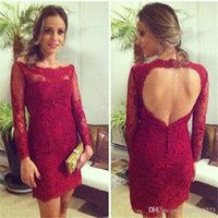 Wholesale Short Club Lace Cocktail Dress - 2016 Burgundy Lace Short Cocktail Dresses Sheer Long Sleeve Open Backs Sheath Vestidos Fashion Mini Prom Party Gowns Lace Occasion Dresses