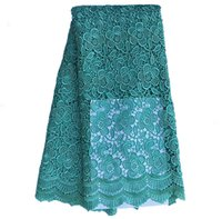 Wholesale Teal Cotton Cord - GWST029 Free shipping (5yards pc) 2017 new African cord lace fabric teal with delicate plum flowers pattern for party dress